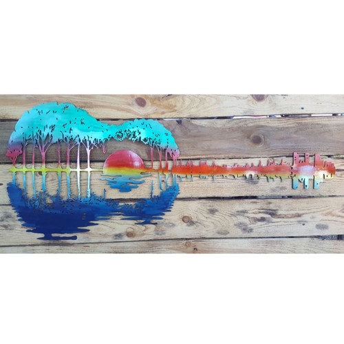 "24"" Decorative Metal Art - Sunset Guitar"
