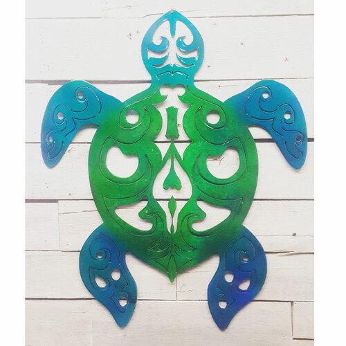 """24"""" Decorative Metal Art - Tribal Turtle - Green and Blue"""