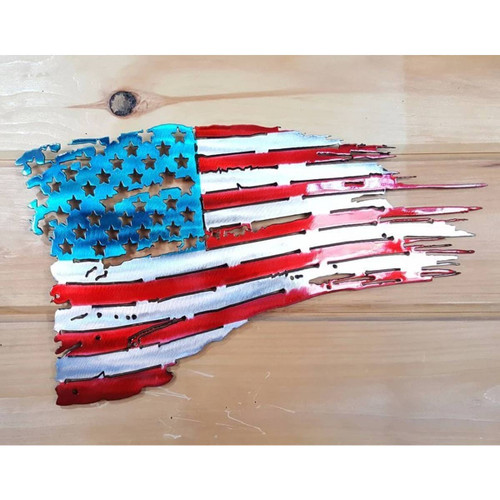 "16"" Decorative Metal Art - Customizable Tattered Flag"