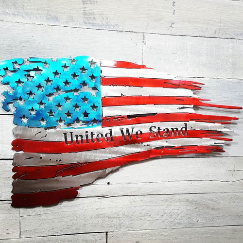 "24"" Decorative Metal Art - Customizable Tattered Flag"