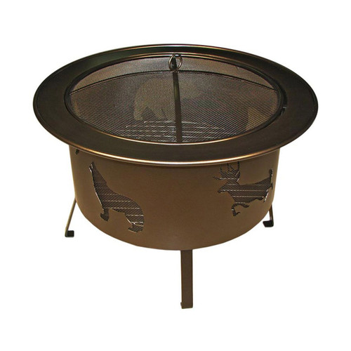 "30"" Round Wood Burning Fire Pit Wildlife Pattern - Bronze"