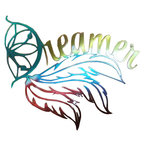 "24"" Decorative Metal Art - Dreamer - Rainbow"