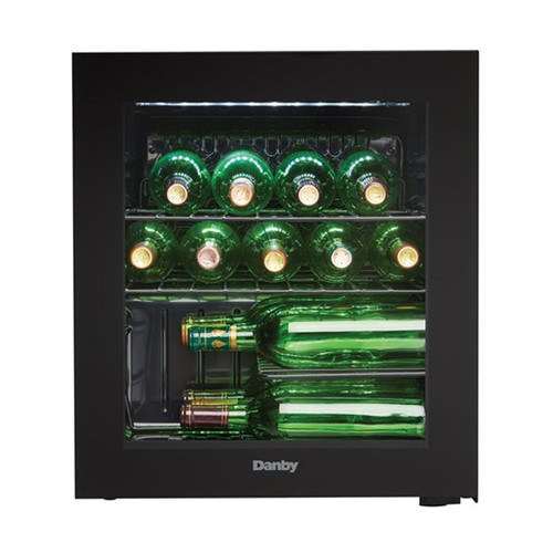 16 Bottle Wine Cooler - Reversible Smoked Glass Door - Black