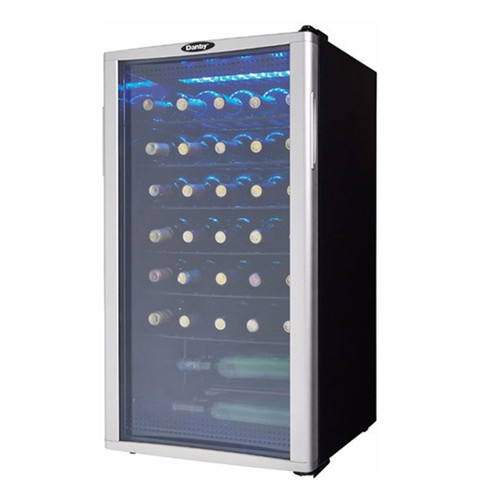 35 Bottle Wine Cooler - Reversible Tampered Glass Door - Black / Platinum