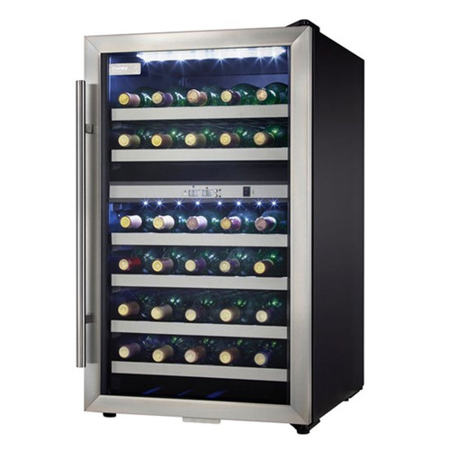38 Bottle Wine Cooler - Stainless Steel Reversible Door - Black / Stainless