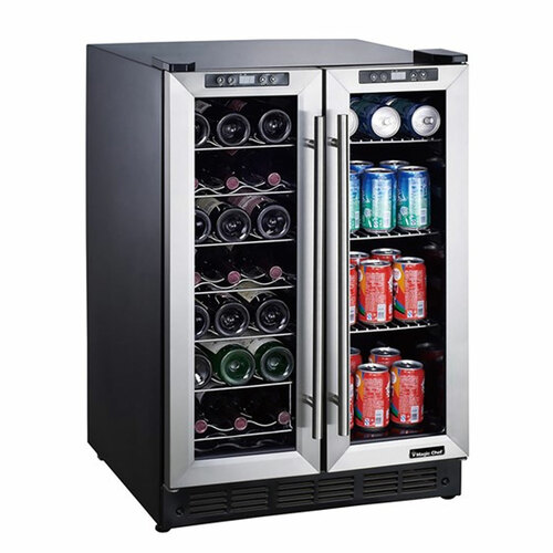 42 Bottle Wine and Beverage Cooler - French Doors with Dual-Zone Cooling - Stainless Steel