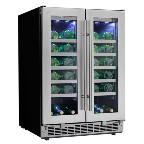 41 Bottle Wine Cooler - LowE Tempered Glass Door - Black / Stainless