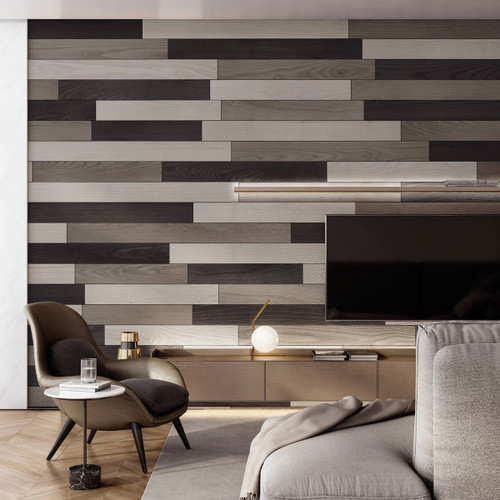 NaturaPlank Peel and Stick Wood Wall Cladding - Grey