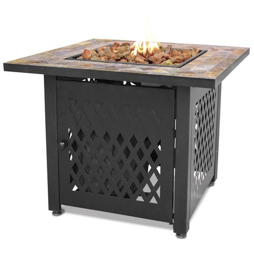 "LP Gas Outdoor Fire Pit w/ 30"" Slate Steel Mantel"
