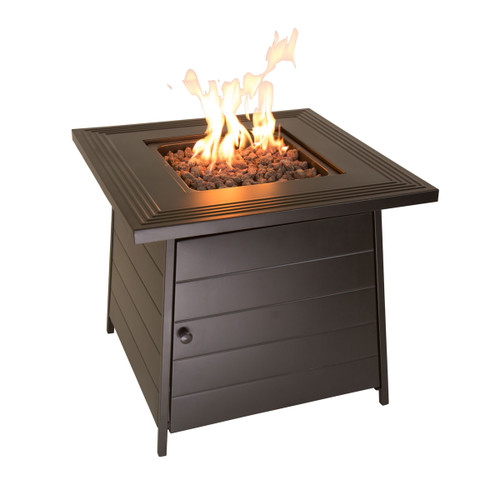 "The Anderson - LP Gas Outdoor Fire Pit w/ 28"" Steel Mantel"