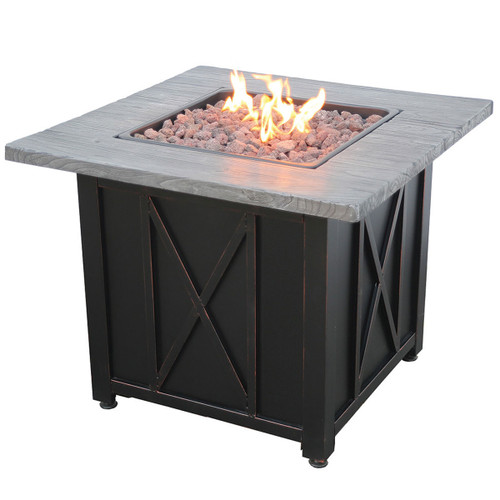 "LP Gas Outdoor Fire Pit w/ 30"" Resin Mantel"