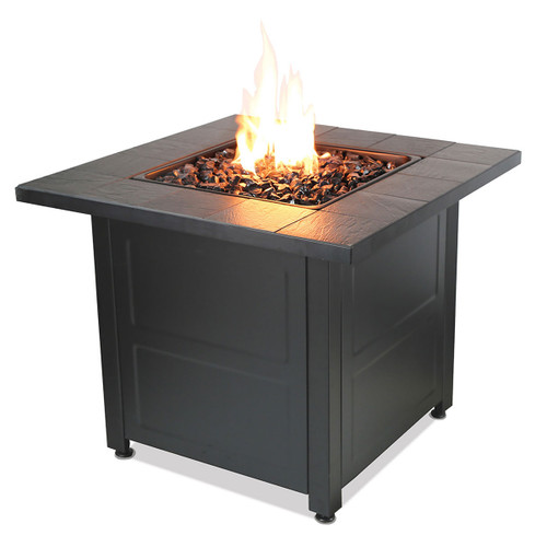 "LP Gas Outdoor Fire Table w/ 28"" Stamped Tile Design"