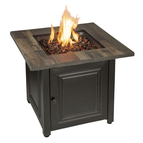The Burlington - LP Gas Outdoor Fire Pit w/ Printed Resin Mantel