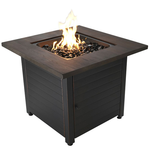 "The Spencer - 30"" LP Gas Outdoor Fire Pit w/ Printed Resin Mantel"