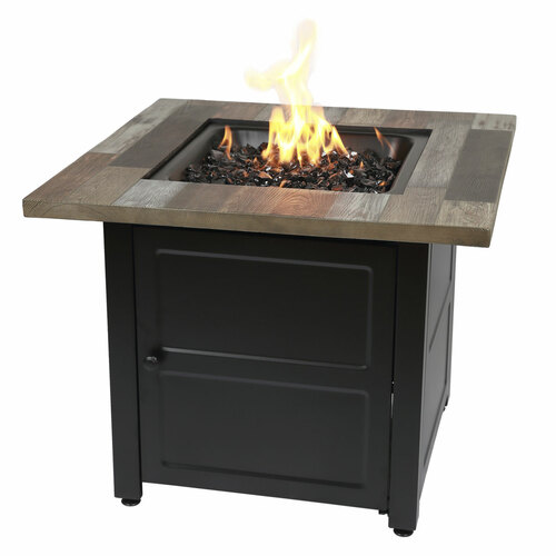 """The Cayden - 30"""" Square Gas Outdoor Fire Table w/ Printed Cement Resin Mantel"""