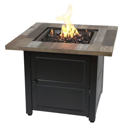"The Cayden - 30"" Square Gas Outdoor Fire Table w/ Printed Cement Resin Mantel"