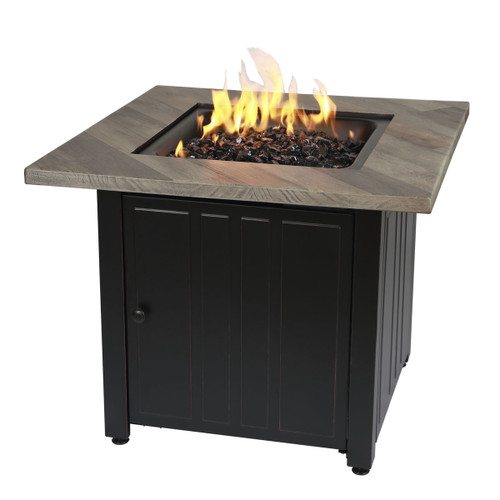 "The Harper - 30"" Square Gas Outdoor Fire Pit w/ Printed Cement Resin Mantel"