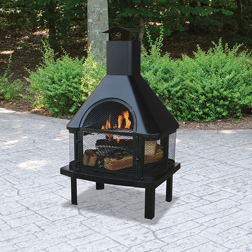 Black Wood Burning Outdoor Fire House w/ Chimney
