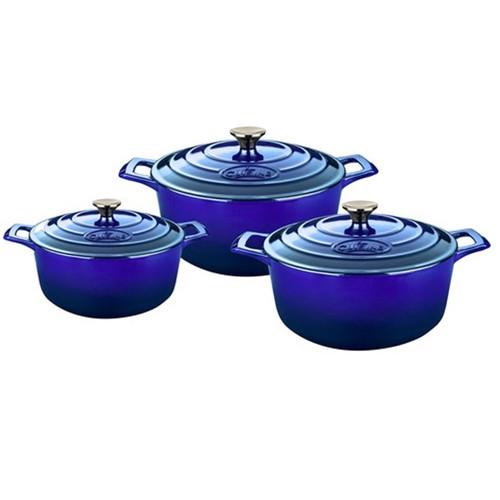 La Cuisine Pro Range 6 Piece Cast Iron Casserole Dish Kitchen Set - High Gloss Sapphire Blue