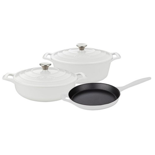 La Cuisine Pro Range 5 Piece Cast Iron Kitchen Set - White