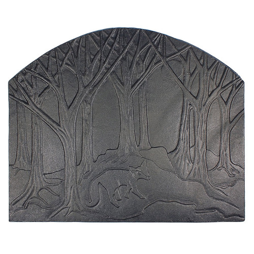 Forest Fox Cast Iron Fireback - 28'' W x 23.5'' H