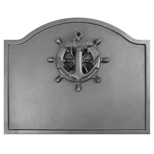 Nautical Black Cast Iron Fireback - 19.5'' W x 15.5'' H