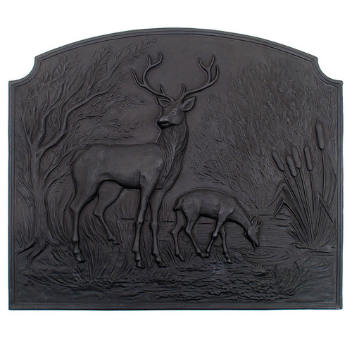Deer Cast Iron Fireback - 28'' W x 24.25'' H