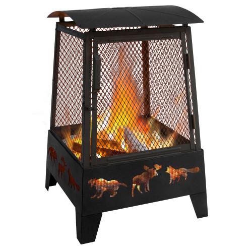 "Haywood - 20"" Fire Pit w/ Wildlife Cutouts - Black"