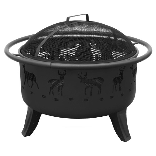 "Patio Lights Deer - 24"" Fire Pit - Black"