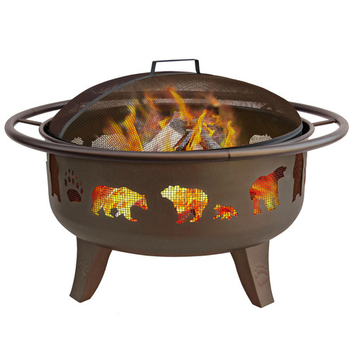 "Bears & Paws - 29"" Fire Pit - Metallic Brown"