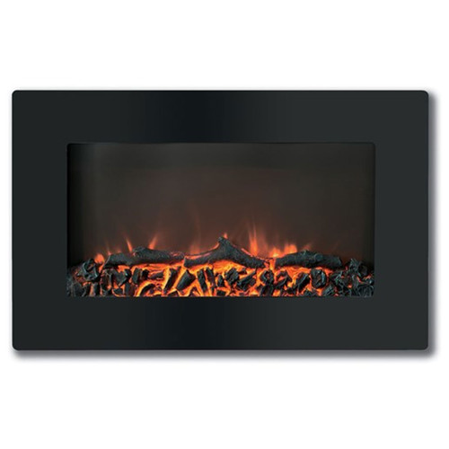 "Cambridge 30"" Callisto Wall Mount Electronic Fireplace w/ Logs - Black"