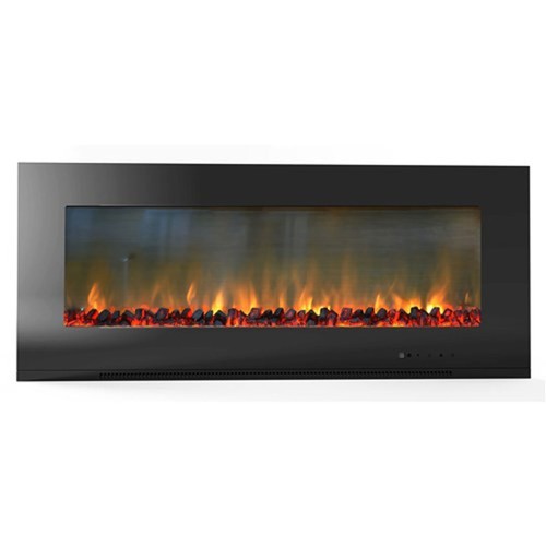 "Cambridge 56"" Metropolitan Wall Mount Electronic Fireplace w/ Logs - Black"