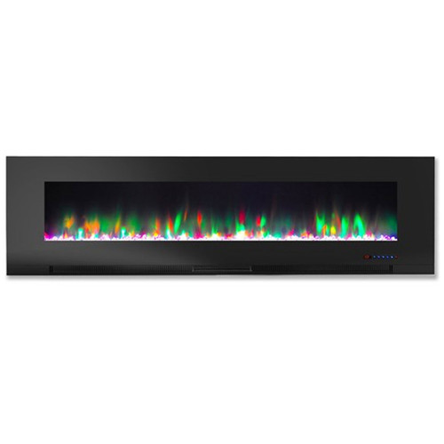 "Cambridge 60"" Color Changing Wall Mount Fireplace w/ Crystals - Black"