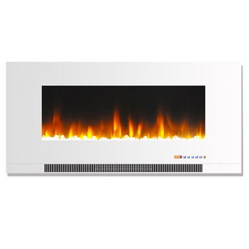 """Cambridge 42"""" Color Changing Wall Mount Fireplace w/ Crystals - White"""