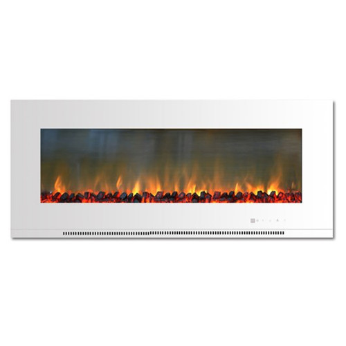 "Cambridge 56"" Wall Mount Electric Fireplace w/ Logs - White"