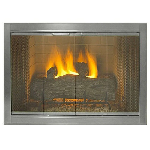 """Brushed Nickel Premium Fireview Stock Masonry Fireplace Door 37"""" Wide x 28"""" High - Less Than Perfect"""