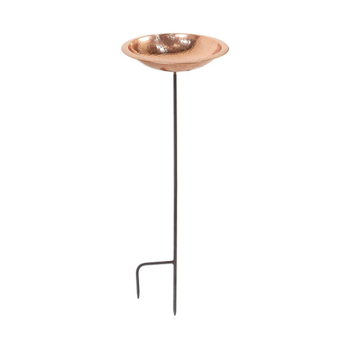 Hammered Copper Birdbath Bowl with Stake