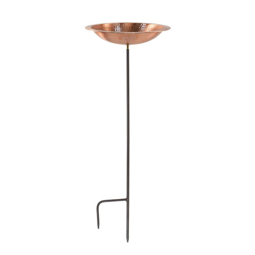 Solid Hammered Copper Bowl w/ Rim w/ Stake