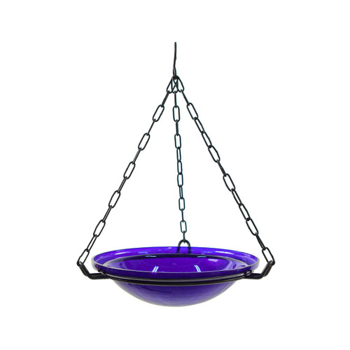 "12"" Crackle Glass Hanging Birdbath - Cobalt Blue"