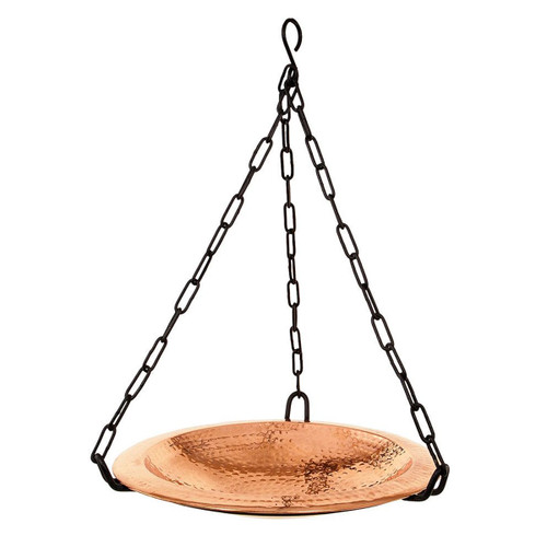 Hammered Copper Hanging Birdbath