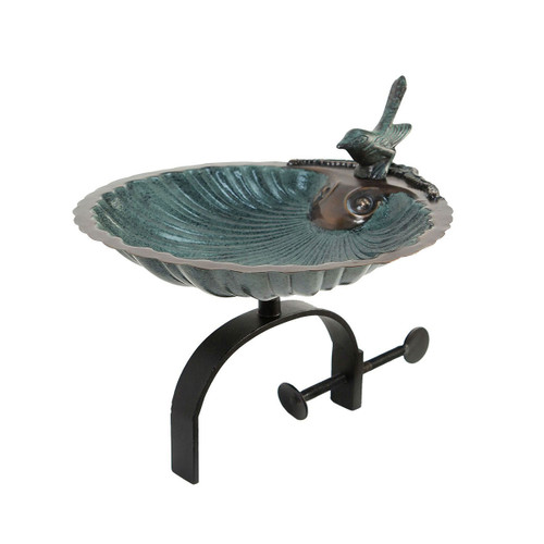 Scallop Shell Birdbath with Over Rail Bracket