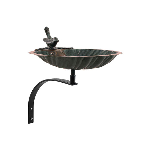 Scallop Shell Birdbath with Wall Mount Bracket