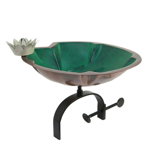 Lilypad Birdbath with Over Rail Bracket
