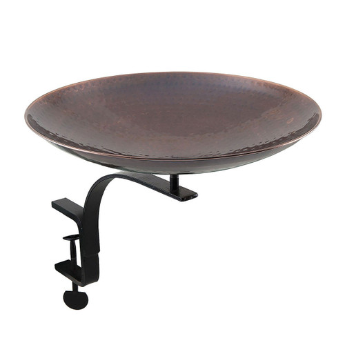 Burnt Copper Birdbath with Rail Mount Bracket