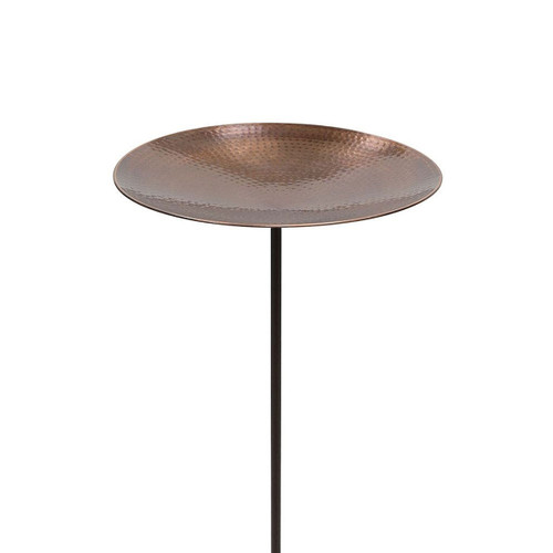 Burnt Copper Birdbath with Stake