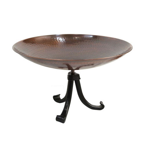 Burnt Copper Birdbath with Tripod Stand