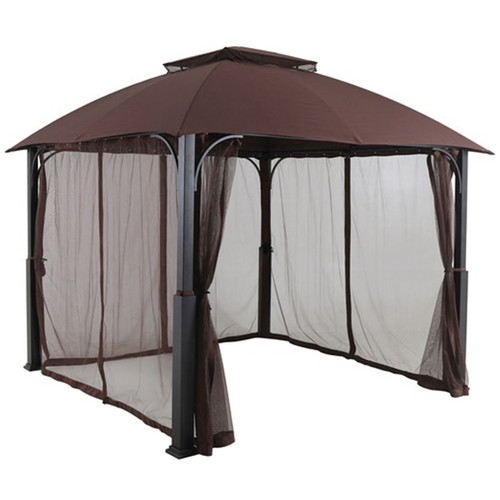 Morning Vale 10' x 10' Aluminum and Steel Gazebo with Netting - Brown/Dark Gray