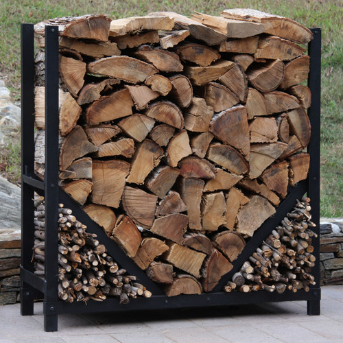 SHELTER-IT 4' Firewood Storage Rack with Kindling Storage Area - No Cover