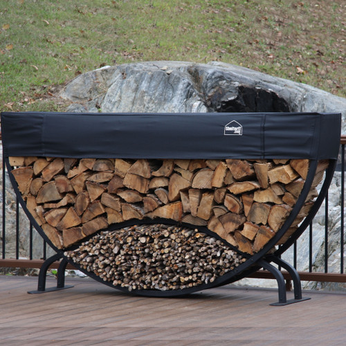 SHELTER-IT 8' Half Round Firewood Storage Rack with Kindling Storage - 1' Cover Included