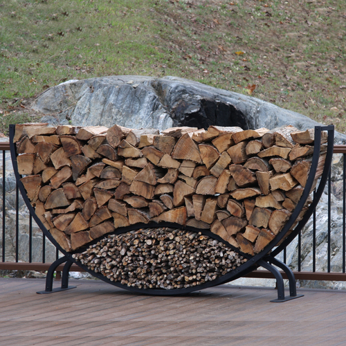 SHELTER-IT 8' Half Round Firewood Storage Rack with Kindling Storage - No Cover